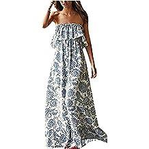 Luojida Vestito a Fiori Donna Abito Maxi Vestiti con Rouches Dress di Senza  Maniche Eleganti Vestito 01f9c43e6fc