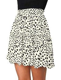 10da8838f2 Eineukleid Primavera Otoño Mujeres Plisado Falda Casual Corto Falda de Playa  Moda Estampado de Leopardo Faldas