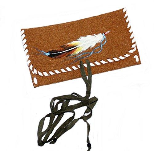 Hejoka-Shop Indianer Tabakbeutel Lederbeutel Wildleder BRAUN Motiv FEDER 17 x 8 cm. Medizinbeutel