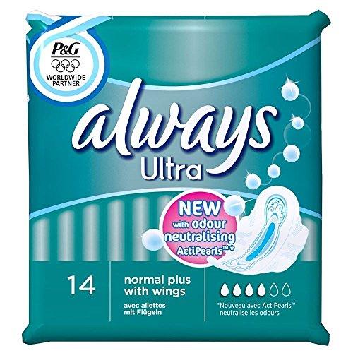 Preisvergleich Produktbild Always Ultra Normal Plus Binden mit Flügeln (14) - Packung mit 6