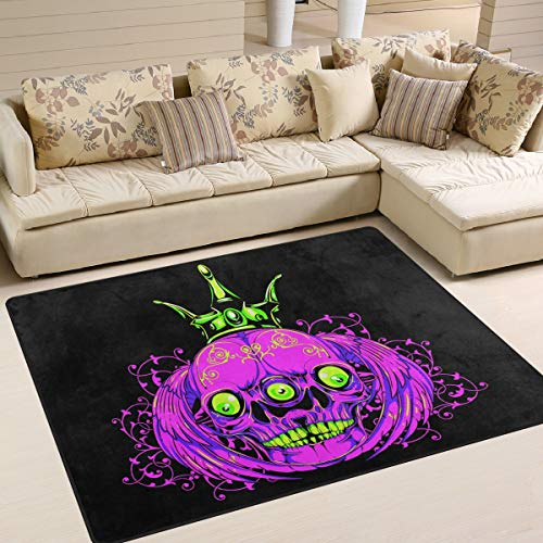 XiangHeFu Weiche Fußmatten 7 'x 5' (80 x 58 Zoll) Teppiche Halloween DREI Augen Schädel Kürbis rutschfeste Bodenmatte ruhen für Wohnzimmer Schlafzimmer (Drei Bären, Halloween)