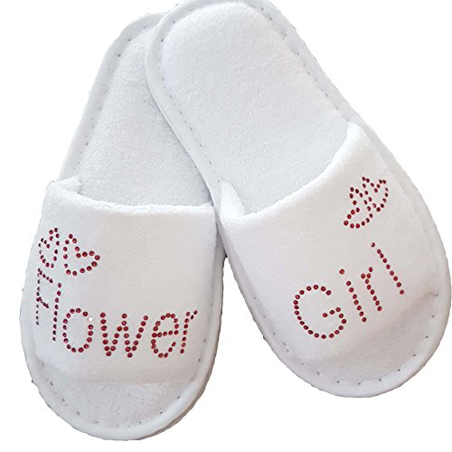 Bride Spa Slippers Bridal Wedding & Hen Night Guest Role Romantic Red Diamante (12-2, FLOWER GIRL)