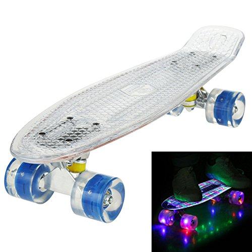 WeSkate 55cm Skateboard Komplett Mini Cruiser Vintage Fertig Montiert Skate Board mit LED Leuchtrollen/Deck für Kinder Erwachsene