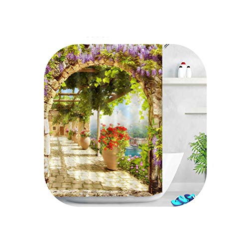 HIGHER-LOVE Blumen Brücke Duschwanne Badezimmer Vorhang wasserdichtes Gewebe, Blumen Brücke 10248,180 * 180cm