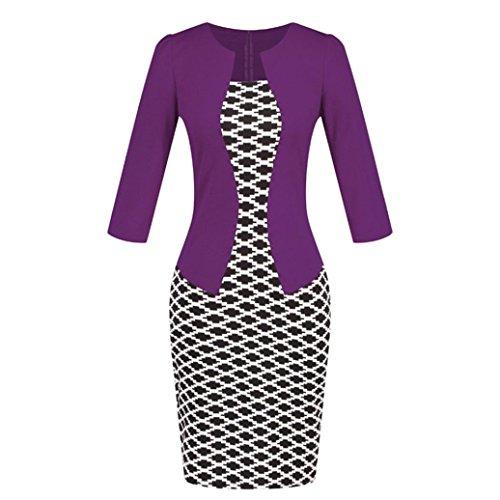 MOIKA Damen Kleid, New Frauen Colorblock Plaid Wear zu arbeiten Business Party Bodycon einteilige Schärpe Kleid(S,Lila) (Voll-leder-cocktail)