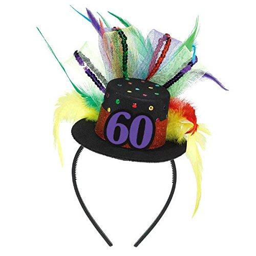 Amscan Elegant 60th Birthday Fascinator, Black/Multicolored, 12 x 9 3/4