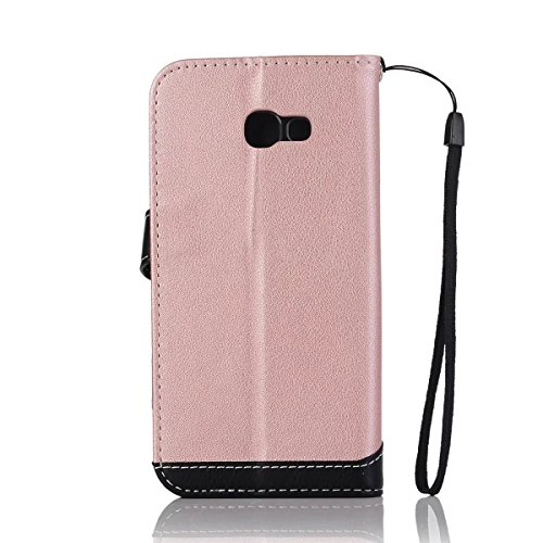 Litchi Texture Dual Farbe Stitching Pattern Synthetik Leder Tasche Cover Flip Stand Case mit Lanyard & Card Slots für Samsung Galaxy A5 2017 ( Color : Red ) Pink