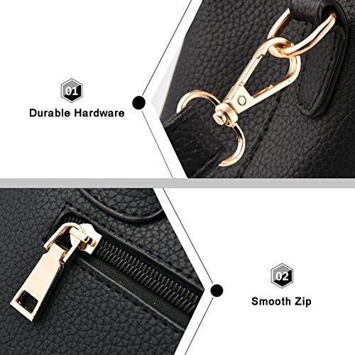 Yoome Lichee Top Handle Crossbody Borse Borse Elegante per Donne Portafogli Portafogli Donna - Navy D.Pink