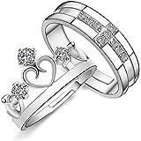 Lumanuby 2pcs Couronne, bagues de couple, simple, mode, brillant, amateurs de bijoux, bague de Noël, de Saint-Valentin, anniversaire, cadeau de mariage