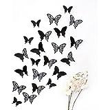 Wandkings 3D Schmetterlinge in SCHWARZ mit Ornamenten / Muster, 12 STÜCK im Set mit Klebepunkten