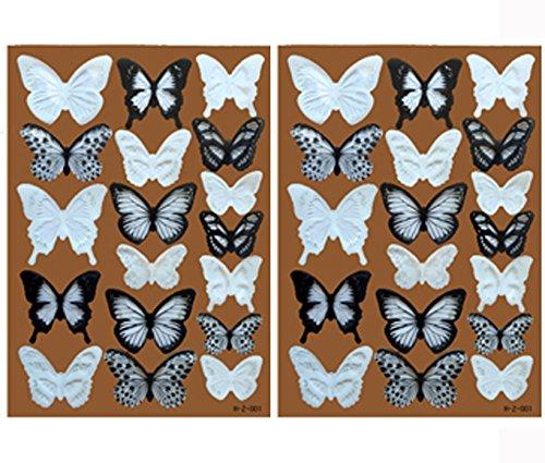comprare on line Lisdripe, adesivi da parete a forma di farfalla 3D, design per la decorazione della casa fai da te, decorazione per muri, finestre, stanza dei bambini, decalcomanie artistiche, adesivi da parete, 36pezzi, bianco e nero prezzo