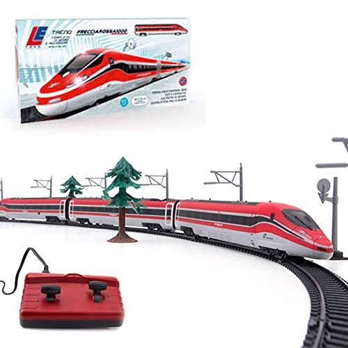 Bakaji toys pista treno frecciarossa radiocomandato modellino in scala 1:87 con radiocomando vagoni luci suoni e accessori gioco lunghezza binario 4,8 metri