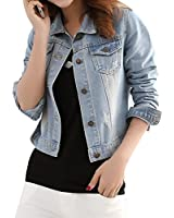 Yasong Women Girls Slim Fitted Button up Long Sleeve Vintage Denim Light Wash Faded Bomber Biker Cropped Jean Jacket