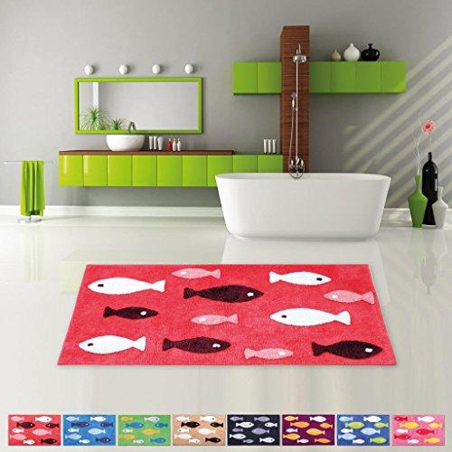 Pro Home Badematte Duschvorleger Badezimmerteppich Auswahl: 60x120cm rot - Cranberry - Cranberry Farbe Teppich