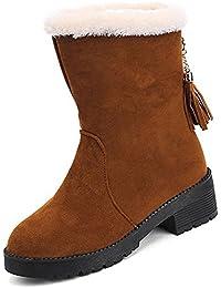 ZHZNVX HSXZ Chaussures pour Femmes en Cuir PU Bottes Mode Automne Hiver Bottes Bottes de Combat Talon Chaussures Bout Rond Chaussures/Boots,Couture,Kaki US8/EU39/UK6/CN39