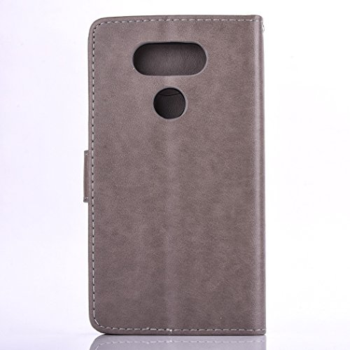 iPhone 6 6S Custodia, iPhone 6 6S Cover,Cozy Hut® Elegante Borsa in Pelle Custodia Case Cover Protezione Chiusura Ventosa, fiore Campanula Design Case Campanula Pattern - Custodia in pelle con support grigio