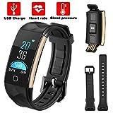 Frequenza cardiaca attività fitness tracker wireless Bluetooth impermeabile IP67Sports Wristband contapassi sonno monitor chiamata di promemoria per Android iOS smartphone, Nero