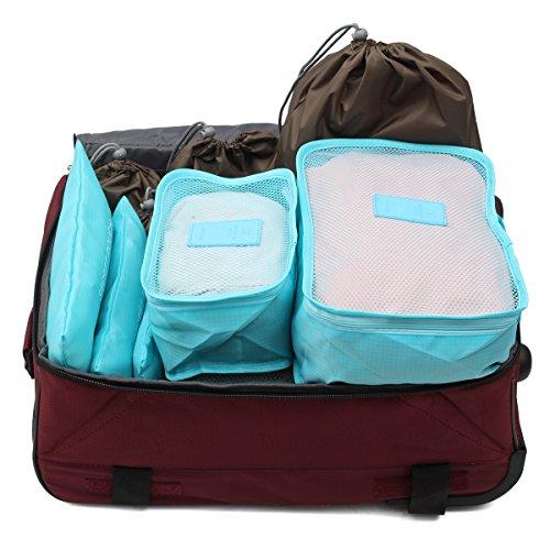 KING DO WAY 10pcs Set Reise Gepäck mit 3 teilig Koffertaschen & 3 Kleidertaschen & 4 Drawstring Pouch als Makeup Storage Schuhreisetasche Schuhbeutel Kosmetik Aufbewahrungstasche Schwarzblau Helbblau