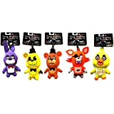"""FNAF Officially Licensed Five Nights At Freddy's 5"""" Plush Toy Clip Complete Set of 5 by Five Nights at Freddy's"""