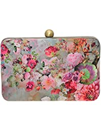 Fabric And Lace Women's Floral Printed Party Wear Hand Box Clutch Purse With Detachable Sling Specially Designed...