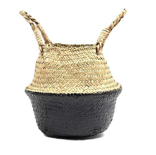 FREEWYJD Schwarze Untere Körbe Seagrass Baskets Wicker Hängende Blumentopf Körbe Storage Flower Home Storage Basket Größe: 18 * 20 -