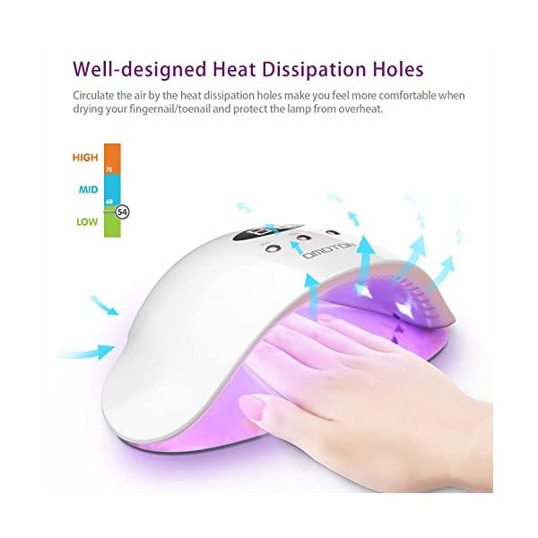 OMOTON Secador de Uñas, Lámpara de Luz LED UV con 3 Temporizadores, Sensor Inteligente, Chapa Movible y Magnético, 12W…