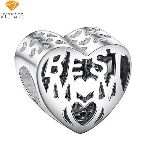 Waya plata charms mejor mamá corazón colgante de cuentas para pulseras brazalete cadena de serpiente joyas