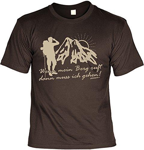 Wander T-Shirt Wenn mein Berg ruft dann muss ich gehen Kletter Bergsteiger Shirt 4 Heroes Geburtstag Geschenk geil bedruckt Braun