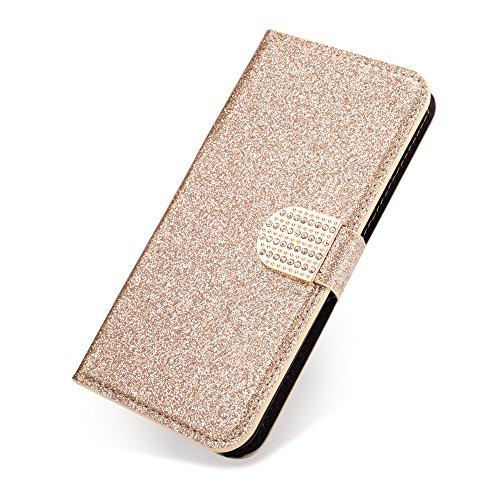 Misteem Shiny Coque pour Galaxy S9 Paillette Diamants, Glitter Couverture Souple Magnétique Strass Etui en Cuir Portefeuille pour Samsung Galaxy S9 [Doré Or #02]