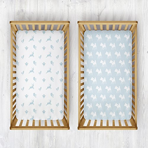 Rabitat 100% Organic Cotton Fitted Cradle Sheet. Bedsheet for Cribs/Cots, Pack of 2 (Birds/Deers)