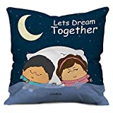 #6: indibni Valentine Together Couple Satin Cushion (12x12 inch) with Filler - Dark Blue (Cute Gift for Girlfriend Boyfriend Him Her on Birthday Anniversary)