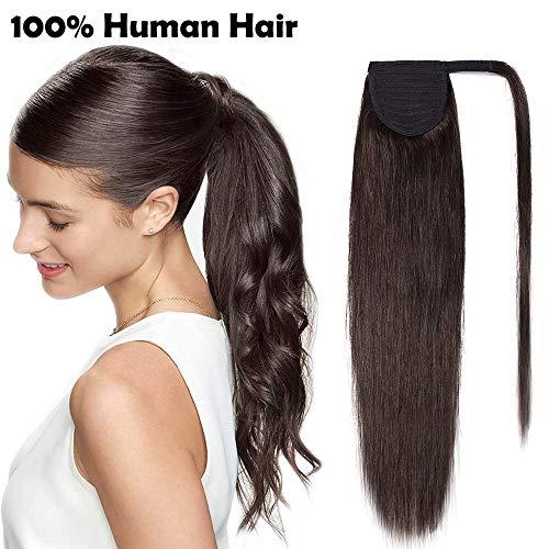 Coda extension capelli veri clip lisci code di cavallo fascia unica ponytail extensions marrone 100% remy human hair umani naturali 80g (35cm #2 castano scuro)