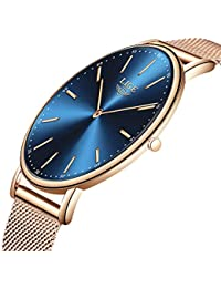 LIGE Hombres Mujeres Unisex Reloje Moda Ocio Simple De Cuarzo Analógico Impermeable Reloje Rosa Dorado Azul Malla Acero Inoxidable Reloj De…