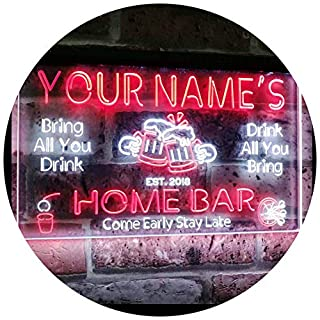 AdvpPro 2C Personalized Your Name Custom Home Bar Beer Established Year Dual Color LED Neon Sign White & Red 300mm x 210mm st6s32-p1-tm-wr