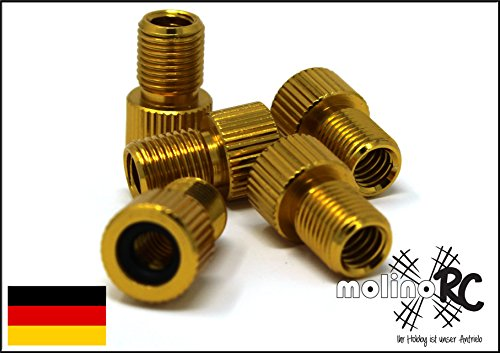 molinoRC 5er Set Ventiladapter gold | Fahrrad Adapter ** BRD ** von Fahrradventil (Sclaverandventil oder Dunlopventil) auf KFZ/Autoventil (Schraderventil) | inkl. Dichtring | Ventil | Rad