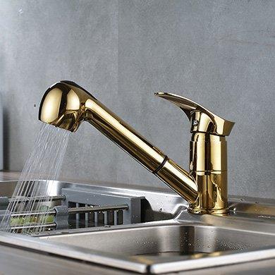 CZOOR Küchenarmatur Messing gebürstet Pull Out-Wannen-Hahn heißes und kaltes Wasser Chrom Nickel gebürstet ORB-Mischer-Hahn, style3