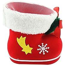 Kentop 1 pieza Navidad Chucherías Botas regalo de Navidad botas rojo de material plástico.