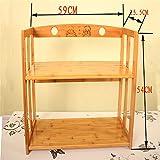 GUJJ Doppelflügelige Bücherregal, einfache Bambus Dachgepäckträger für Primär- und Kursteilnehmer der mittleren Schule, 69 * * 25,5 cm 54