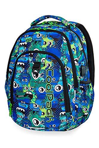 COOLPACK Schulrucksack Kinder-Rucksack Schultasche Strike 27 Liter USB-Port Kabel 44 x 32 x 15 cm Eyes Blue Mädchen Jungen 27 Ipod