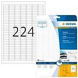 HERMA 8830 Universal Etiketten für Inkjet Drucker DIN A4 (25,4 x 8,5 mm, 25 Blatt, Papier, matt) selbstklebend, bedruckbar, permanent haftende Aufkleber, 5.600 Klebeetiketten, weiß