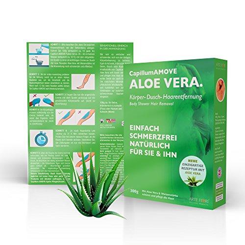 Capillum AMOVE Aloe Vera 300g ein Natur Körper-Dusch Haarentfernungs Pulver + Weizenstärke extra für eine unwiderstehlich weiche Haut! - Natürlich, Einfach & Schmerzfrei - DERMATEST sehr gut