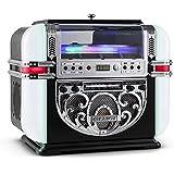 Ricatech RR700 Retro - Jukebox Diseño Años 50 (reproductor CD, radio AM/FM, entrada AUX, iluminación LED con cambio de color automático, altavoces integados, base antideslizante)