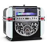 Ricatech RR700 - Berlin - 5 couleurs LED Tabletop Retro Mini Jukebox | Lecteur CD avec haut-parleurs stéréo intégrés, Radio AM/FM et Line-in...
