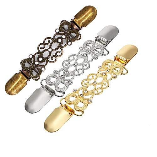 MJARTORIA Damen Entenschnabel Strass Gold Silber Farbe Enten Schnalle Clips Ärmelhalter für Strickjacken Blusenraffer Schal Kragen (Bronze-3er)