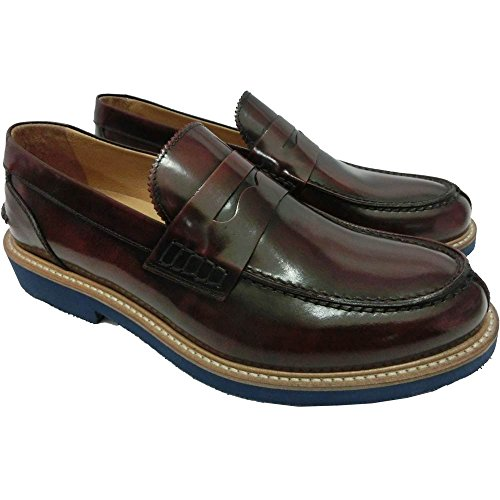 Exton scarpe uomo 1427 9102 pelle - Mocassino abrasivato bordeaux M1190 O 0039, Made in Italy, Bordeaux (44)
