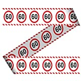 Absperrband 60. Geburtstag Jubiläum Warnband Verkehrsschild 15m Dekorationsidee
