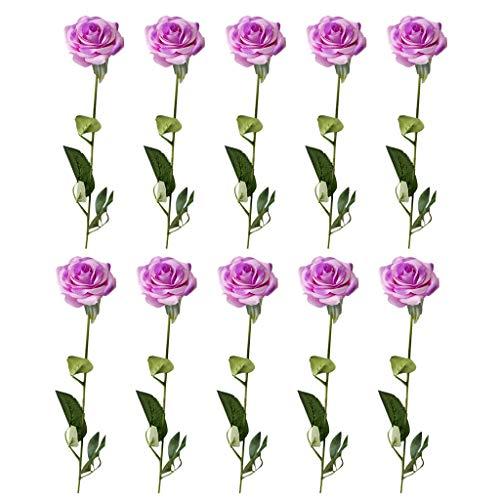 Subfamily 10 Stücke Künstliche Rosen Silk Blumen Gefälschte Flowers Kunstblumen Blumenstrauß Braut Hochzeit Bouquet Für Hausgarten Geburtstag Party Home Wedding Deko (Lila) - Silk Bouquet Lila Flower