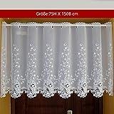 Yujiao Mao 1er Pack Halbtransparent Besticke Weiß Blumen Scheibengardine Küchen Vorhang Tür Gardine J13 HxB 75cmx150cm