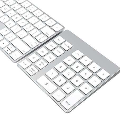 Cateck Teclado Numérico Inalámbrico Bluetooth Recargable en Aluminio de 28 teclas para iMac, MacBook Air, MacBook Pro, MacBook, y Mac Mini
