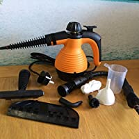 MarkUK Electric Handheld Steam Cleaner Portable Hand Held Powerful Steamer Cleaning Set with accessories 48h courier (ORANGE, steam cleaner)